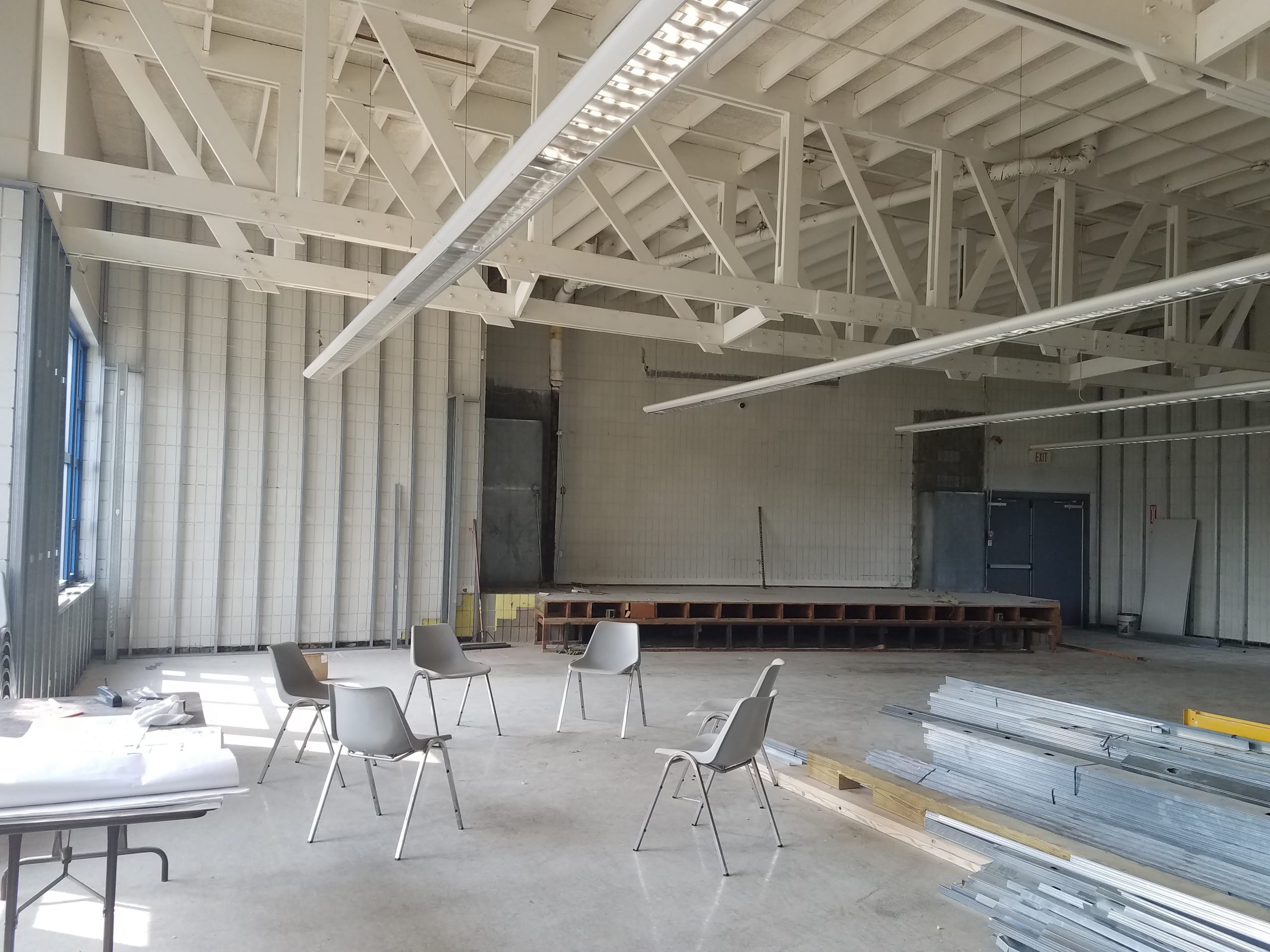 Public Space – Stage is almost gone.  Walls are being prepped for drywall.