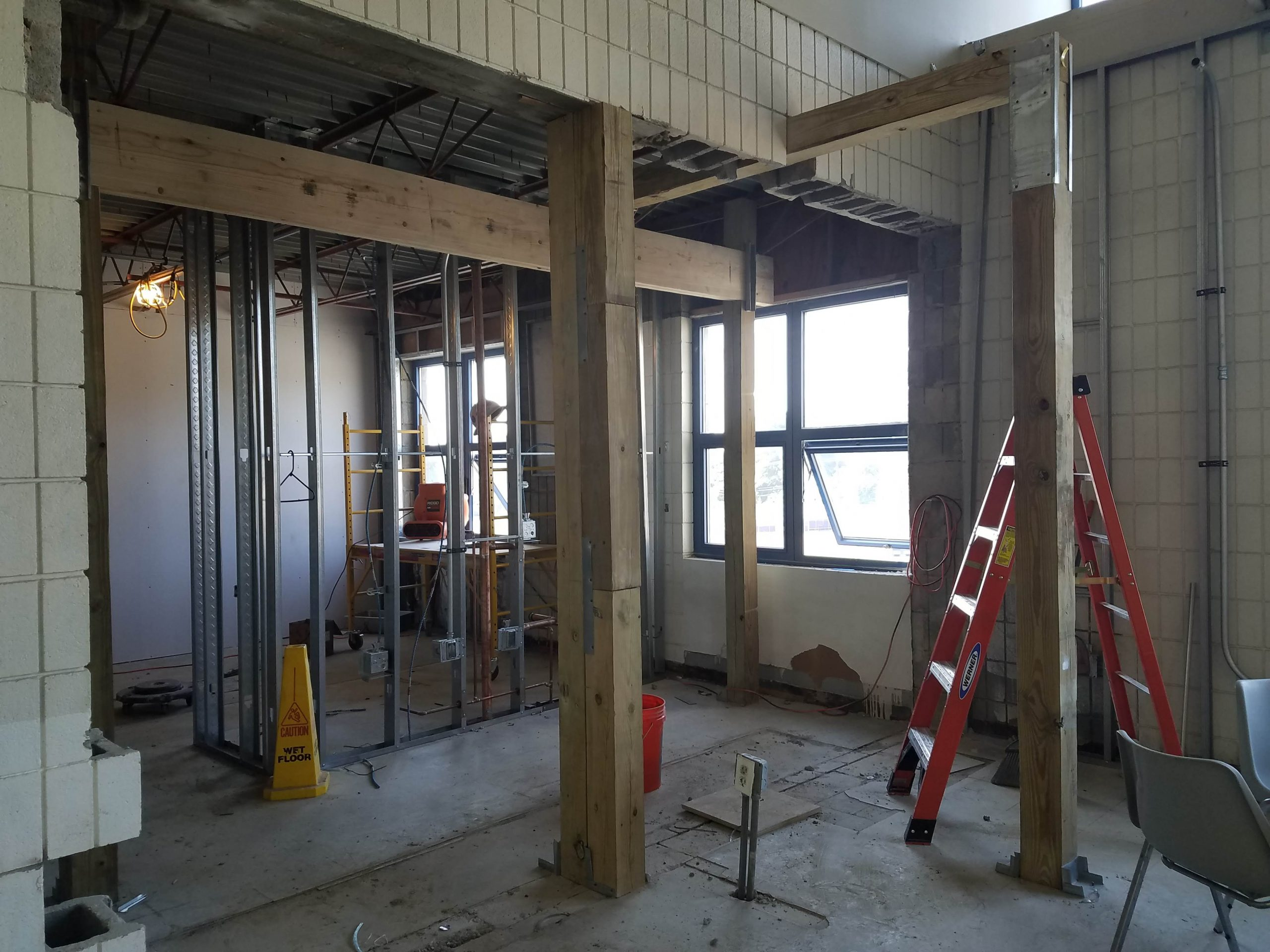 Staff workroom and breakroom getting framed out.