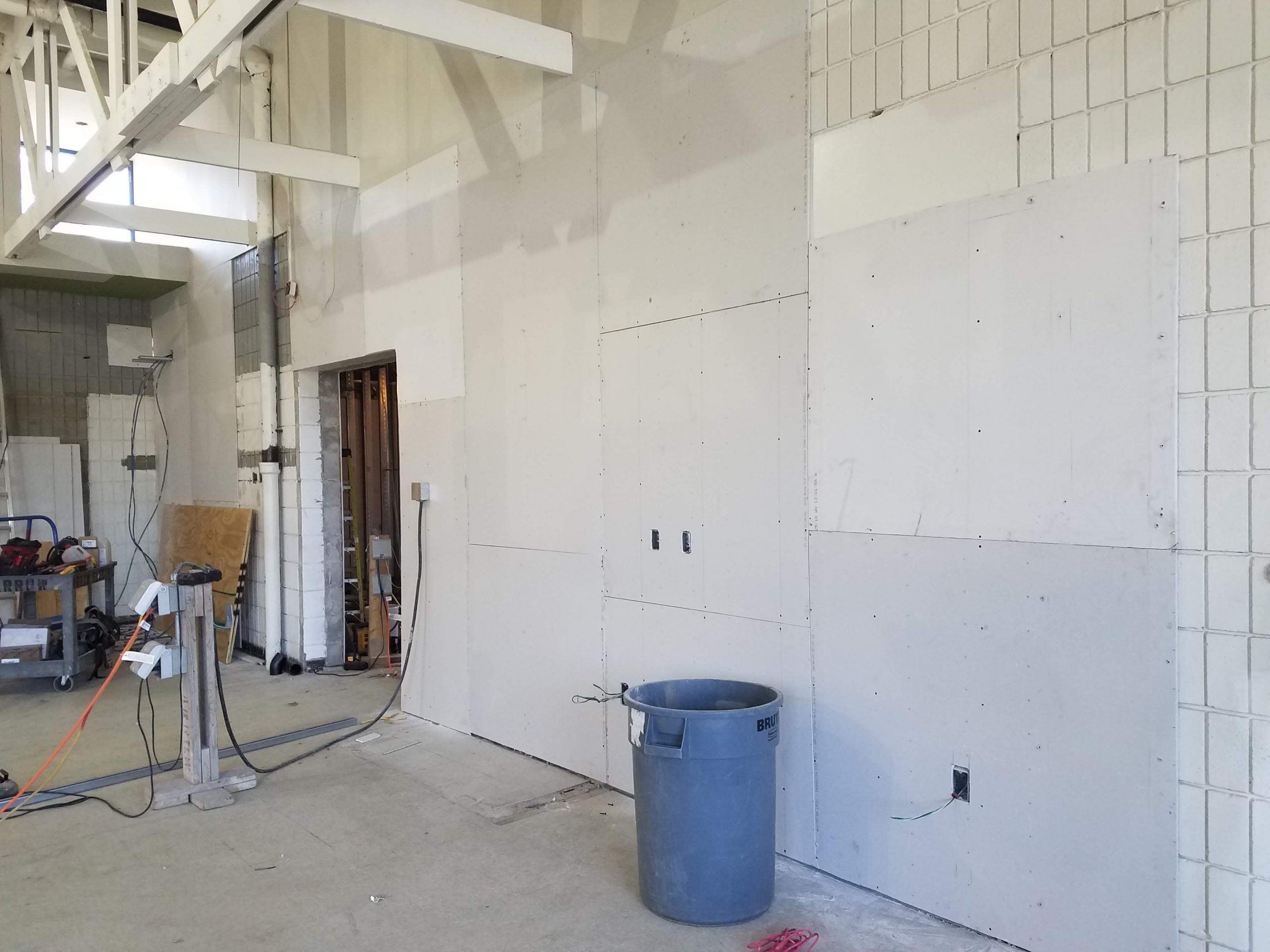 Old entrance to kitchen is now ready for drywall.